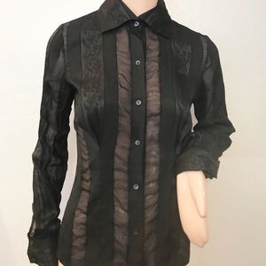 loewe embroidered silkblend sheer stripe blouse